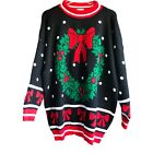 Knitwaves 1x/2x Ugly Christmas Knit Sweater Womens Black Wreath Vintage USA