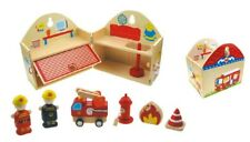 Wooden Toy Collection Preschool Line Fire Station Pretend Play Gift