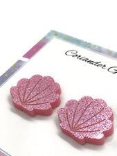 Mermaid Seashell Acrylic Stud Earrings Pink Glitter - Christmas Stocking Stuffer