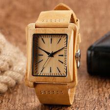 Rectangle Bamboo Genuine Leather Band Men Women Quartz Wrist Watch Pin Buckle