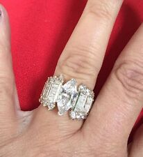 HSN Solid 925 Cz Marquise Baguette Engagement Ring Sz 7 Sold Out!