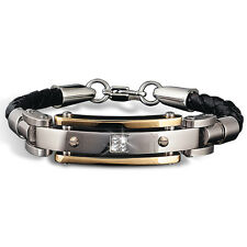 Daniel Steiger Leather Diamond Bracelet With 18K Gold Plating And Diamonds