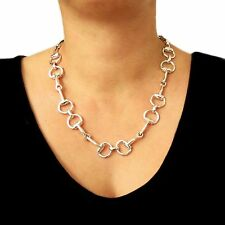 Large Horse Snaffle 925 Sterling Silver Riding Tack Necklace 52cm Gift Boxed