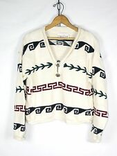 Womens Vintage 90's Tribal Sweater CROPPED Length Boho Grunge // S // w206