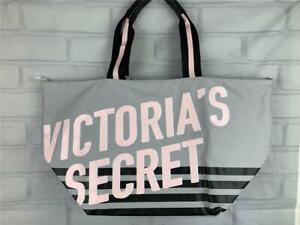 VICTORIA'S SECRET Signature Extra Large Tote Bag Canvas Gray/Black/Pink Beach