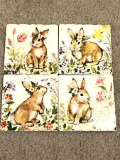 New listing Set/4 Coasters With Rabbits, Absorbent Ceramic W/ Non-Stick Cork Bottom, Nwot