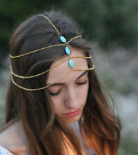 Gold CHAIN TURQUOISE BEADED headband head piece chain elastic hair band SUMMER