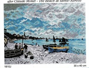 """""""The Beach at Sainte-Adresse"""" Printed Canvas or Threads Kit Needlepoint 1810"""