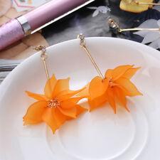 Fashion Women's Ear Studs Crystal Flower Drop Long Dangle Earrings Jewelry Orange