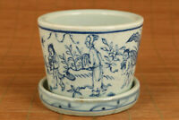 chinese old blue and white porcelain hand painting flowerpot in good condition