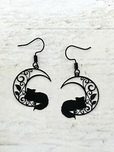 Black Cat Sleeping On Crescent Moon Earrings Goth Kitsch New Age Pagan Celestial