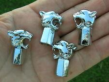 UK ~ JAGUAR GROWLER VALVE CAP SET of 4 Chrome Metal Car Badges (NEW & UNIQUE)