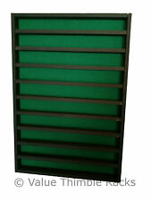 100 thimble display rack in matt black with green felt back