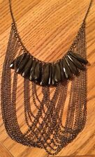 Handmade Long Black Chain Necklace w Long Black Beads