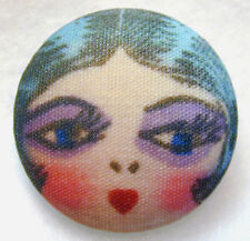 """1920s Flapper Girl Button Hand Printed Fabric /""""Grace/""""  FREE US SHIPPING"""