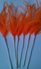 6 orange ostrich feathers sprays on wire for decorating cakes,floral crafts