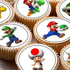 24 icing cake toppers decorations birthday Super mario mixed characters d2