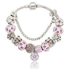 Silver Plated Bear Charm Bracelets & Bangles W/Pink Crystal Beads-17 cm