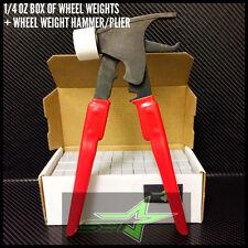 1 BOX OF WHEEL WEIGHTS + HAMMER | 1/4 OZ (0.25) | STICK-ON TAPE | 156 OZ 624 PCS