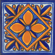"Handmade Mexican Tile Sample  Talavera Clay 4"" x 4"" Tile C116"