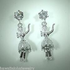 8mm Solid Sterling Silver Hawaiian Hula Dancer Dangling Post Stud CZ  Earrings