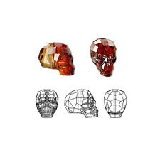 Swarovski Crystal Glass Beads Faceted Skull 5750 Red Magma 19x18x14mm