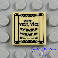 NEW Lego VENI VIDI VICI SCROLL 2x2 Printed TAN FLAT TILE Roman Minifig Newspaper