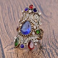 Femmes de Luxe or Plaqué Bleu Saphir en Cristal Bague