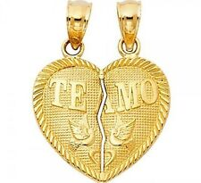 14k Solid Yellow Gold Heart I love you Te Amo 2 Two Piece Pendant Set Charm