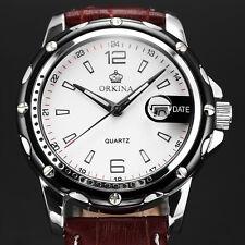 ORKINA Men's White Dial Leather Date Display Sport Quartz Analog Wrist Watch