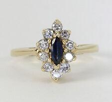 Diamante zafiro anillo 14K oro amarillo halo marquesita brillante redondo .85CT