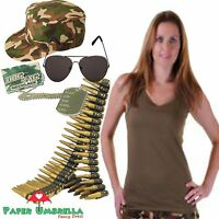 Ladies ARMY FANCY DRESS Military Vest Cap Dog Tag Bullet Belt costume outfit