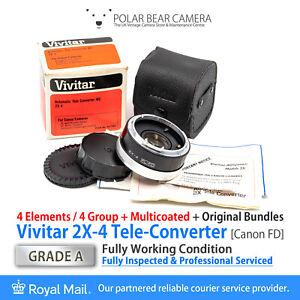 ⭐SERVICED⭐ VIVITAR Canon FD / FL 2X MC Tele Converter BOXED [GRADE A]