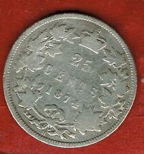 CANADA 1874H  .TWENTY FIVE CENTS SILVER   QUEEN VICTORIA .MINTAGE 1,600,000