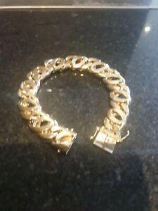 14k 14ct 585 Solid Yellow Gold Bracelet heavy Men's birds eye  Link Curb 100grm