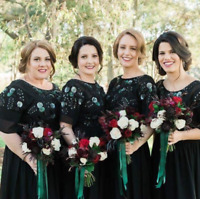 Virgos Lounge Black Party Dress Embellished Bridesmaid Wedding Maxi 6 to 18 New