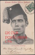 ERITREA  Postcard of Native Soldier sent from Saganeiti to Italy, 1907