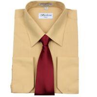 Men's Berlioni Business Standard Cuff Tie Set Dress Shirt Mustard Burgundy