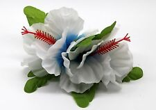 Hawaii Hair Clip Lei Party Luau Hibiscus Flower Dance Beach Photo Blue Heart DL