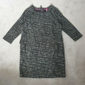Joules Esther Black/White Tweed Style Dress - Size 16 With Pockets