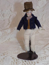 "4"" Antique German Parian Doll House Man Doll Original Clothes Top Hat"
