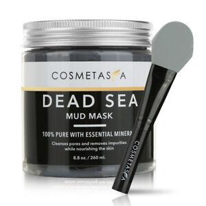 Dead Sea Mud Mask 8.8oz Acne Blackhead Remover With Silicone Mask Brush Exp 4/20