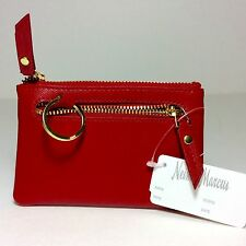 NEIMAN MARCUS WOMEN'S  LEATHER  ZIP-TOP COIN PURSE WITH KEY RING.RED.NWT.