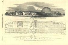 Great Exhibition Crystal Palace plan. Hyde Park 1850 Carte Antique Or tout vestige pleine page