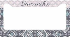 PERSONALIZED LICENSE PLATE FRAME CUSTOM CAR TAG GRAY ICE BLUE AZTEC TRIBAL
