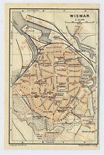 1914 ORIGINAL ANTIQUE MAP OF WISMAR / MECKLENBURG / GERMANY