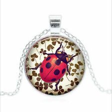 Lucky Ladybug Tibet silver Glass dome Necklace chain Pendant Wholesale