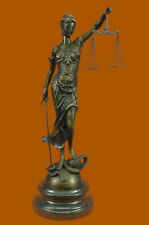 REAL 100% BRONZE BLIND JUSTICE LAW MARBLE STATUE LADY HOT CAST OFFICE HOME DECOR