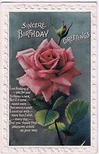 Vintage Birthday Postcard 'Sincere Birthday Greetings' - no stamp