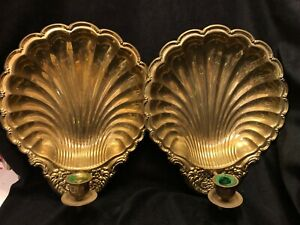 Pair Brass Scallop Shell Sconces Vintage Wall Candleholders Taper MCM Regency